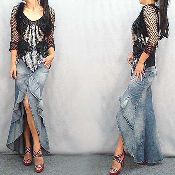 New vintage style długie dżinsy podlewać trąbka ryby ogon spódnica czarny gradient spódnice damskie piętro długość ruffle slim denim spódnice(China (Mainland))