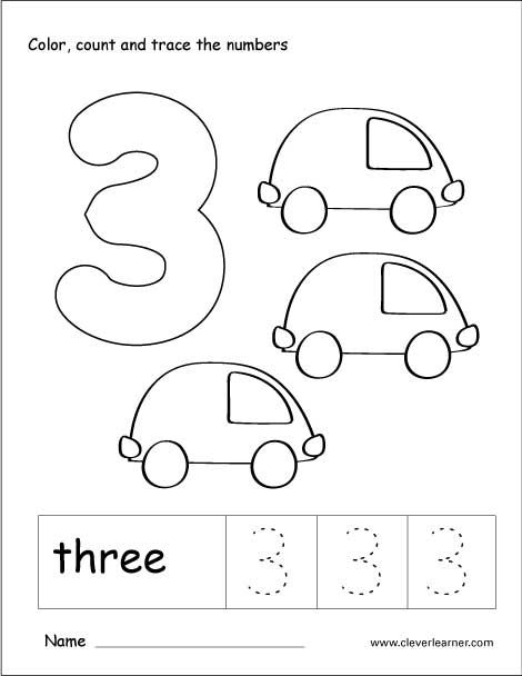 Number 3 tracing and colouring worksheet for kindergarten ...