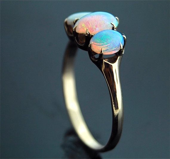 Antique Opal Ring 14k Rose Gold with Three by TheCopperCanary
