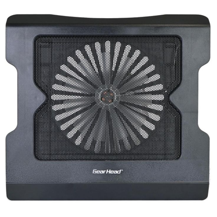 GearHead CF3950ML Dual Fan Wire Mesh Extreme Laptop Cooler w-Blue LEDs - Fits Up To 17. GearHead CF3950ML Dual Fan Wire Mesh Extreme Laptop Cooler General Features:  Color: Black  Whisper Quiet Fan technology  One (1) 140mm fan  Illuminated LED design  Wire mesh grill  USB bus powered  Air flow: 18CFM  Fan speed: 800 RPM  Noise level: 21dBA  Fits up to 17-inch notebooks Unit Dimensions:  1.3 x 13.5 x 12.5-inches (H x W x D)  Weight: 1.7 lbs.  GearHead CF3950ML Dual Fan Wire Mesh Extreme…