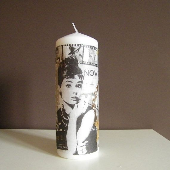 Decorative  Candle  Audrey Hepburn Unscented Home Decor by mallalu, $19.00
