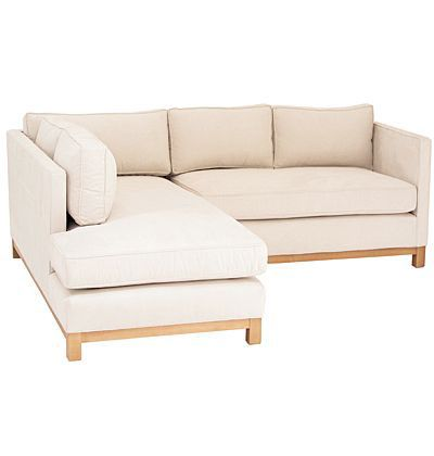 Linen Sectional Clean Lines And Wooden Legs Are