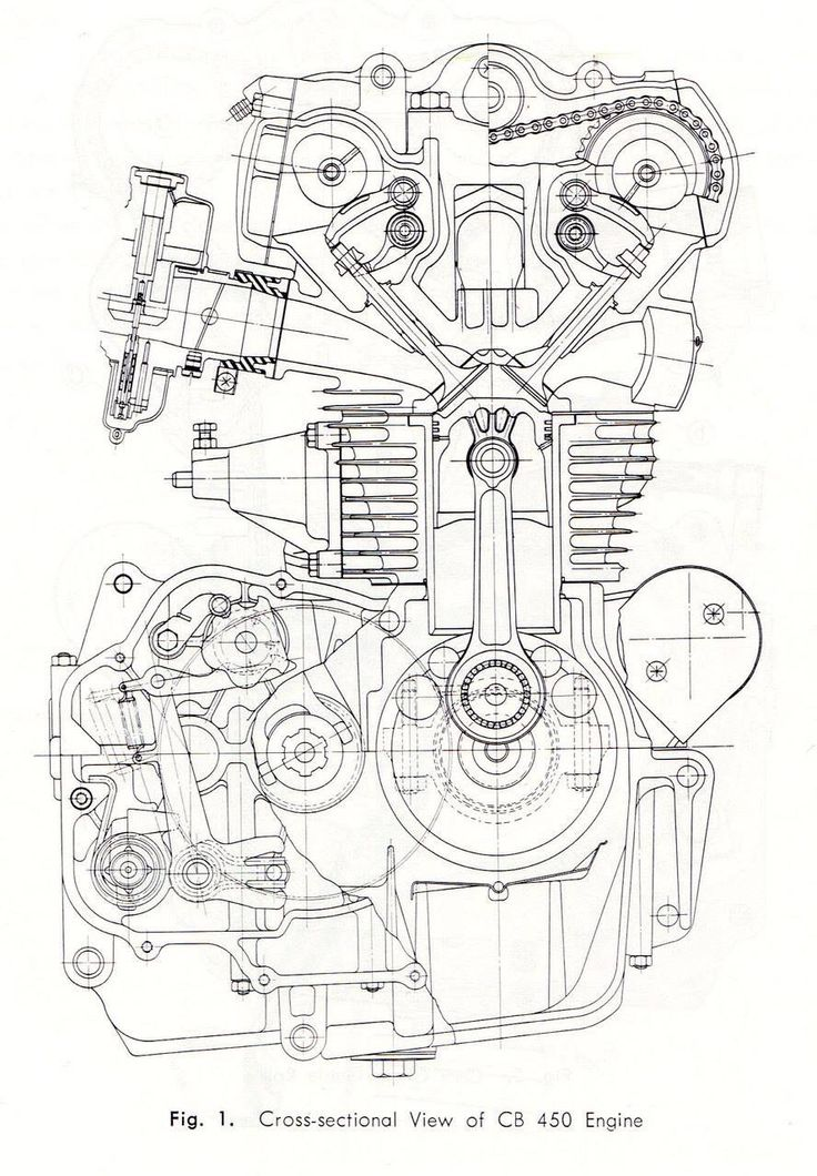 CB450 K0 engine cross-section drawing
