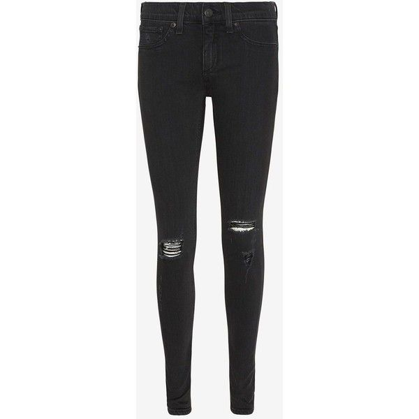 rag & bone/JEAN Destroyed Soft Rock Skinny ($129) ❤ liked on Polyvore featuring jeans, pants, bottoms, clothes - pants, pantalones, skinny jeans, super skinny jeans, black super skinny jeans, mens jeans and distressed skinny jeans