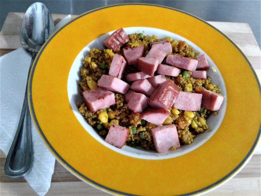 Curried Vegetable Couscous with Ham