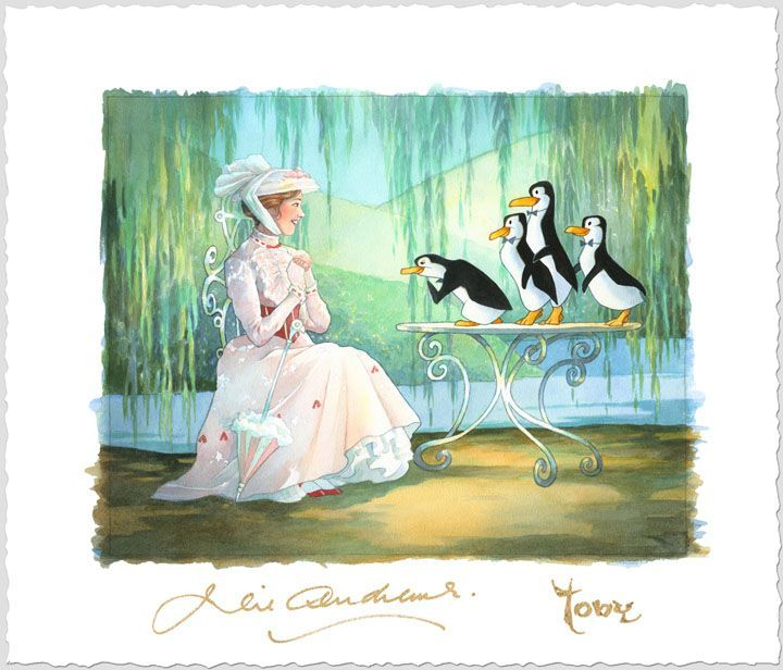 Mary Poppins and Merry Penguins. Painted by Toby Bluth. http://disneyfineart.com/artists.php?aID=532bluth#