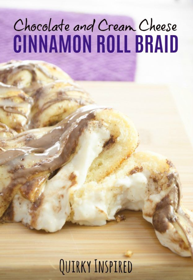 Delicious Cinnamon Roll Braid with Chocolate and Cream Cheese.