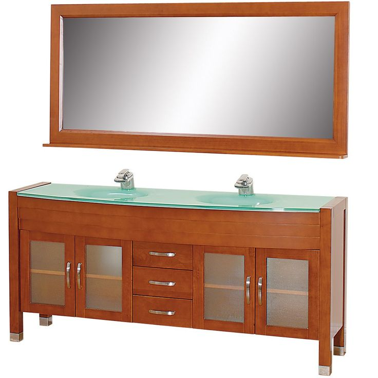Photo Image Shop Wyndham Collection Daytona Cherry Integrated Double Sink Bathroom Vanity with Tempered Glass and Glass Top Common x Actual