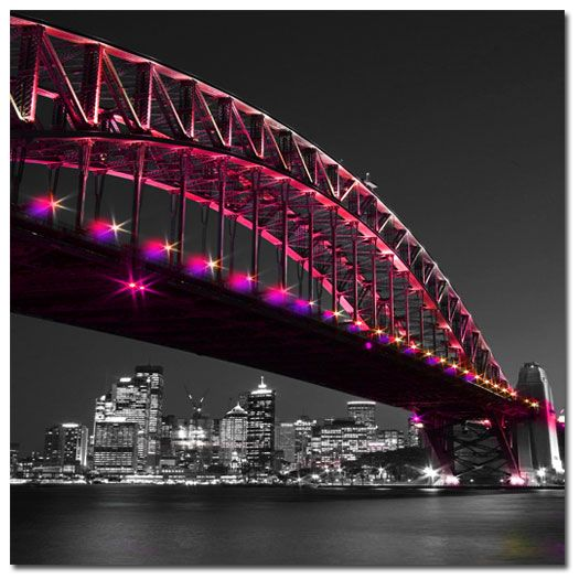 Sydney Harbour Bridge over City, Original (square) on canvas Price: $25 Ships worldwide  http://www.thecanvasartfactory.com.au  #cityscapes #sydney #bridges #red #pink #blackandwhite #photography #canvas #design #home #wallart