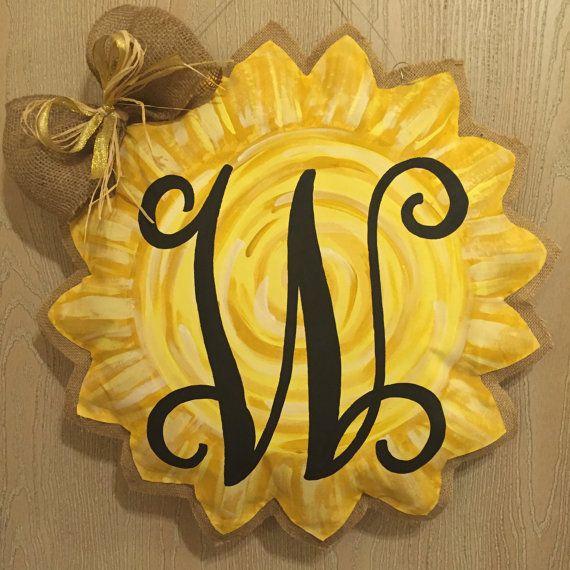 Sunflower/Sun REVERSIBLE Painted Burlap Door by JulesTrulyDesigns