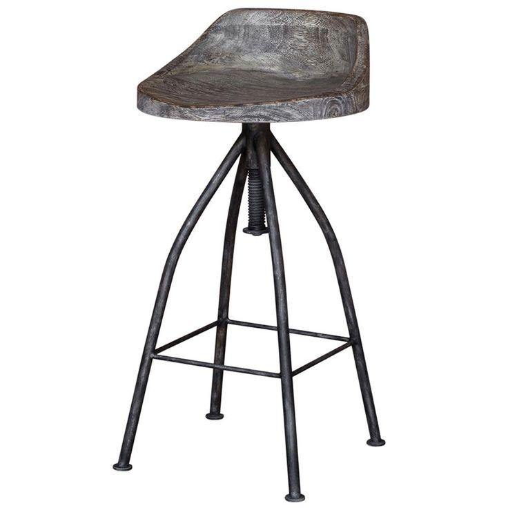 Melvin Industrial Loft Grey Iron Driftwood Bar Stool | Kathy Kuo Home