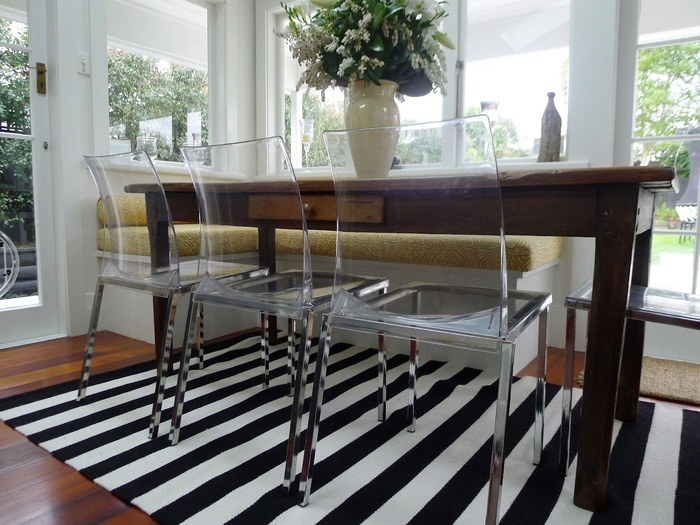 Dining room featuring an Armadillo Ribbon Stripe rug, styled by Annie Loveridge Interiors | Armadillo & Co: www.armadillo-co.com