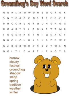 Groundhog's Day word search (easy)