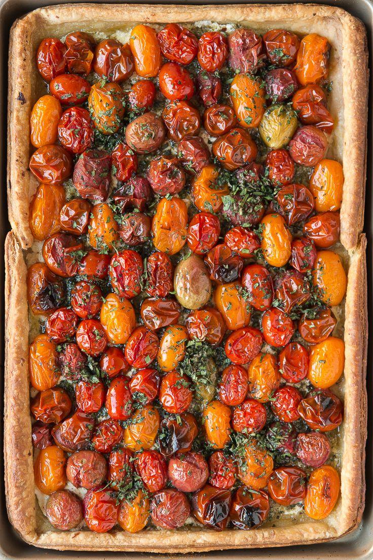 Puff Pastry Tomato Tart with Macadamia Nut Pesto