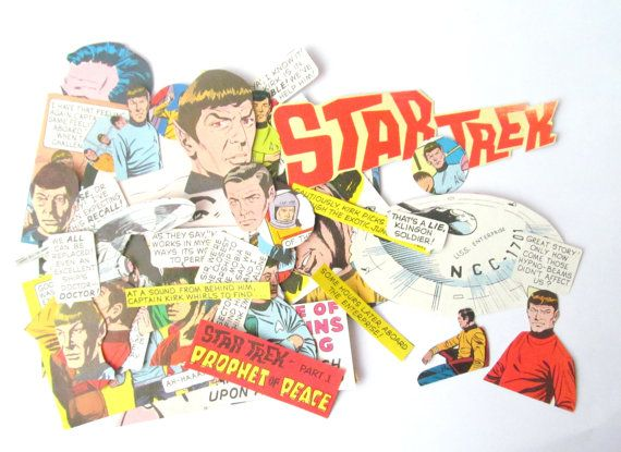 Star Trek vintage papers for craft: 43 piece ephemera pack. Original 1970s cartoon images ideal for scrapbooking, card making, collage.