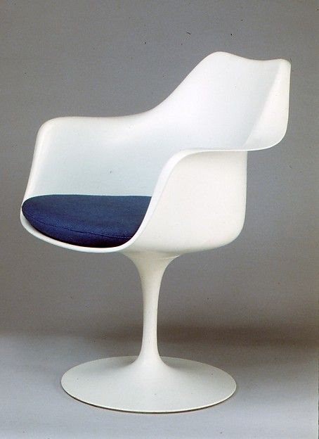 """Tulip"" Armchair (Model No. 150)   Designer: Eero Saarinen (American (born Finland), Kirkkonummi 1910–1961 Ann Arbor, Michigan)   Manufacturer: Knoll   Date: 1956  Medium: Aluminum, plastic, wool and nylon upholstery  Dimensions: H. 35-3/4, W. 61-1/2 inches (90.8 x 156.2 cm.) Seat H. 18 inches (45.7 cm.)   Classification: Furniture"