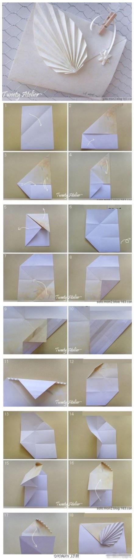 Sobre con hojas de origami tutorial