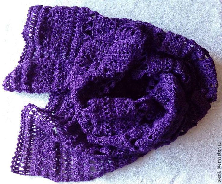 Купить Ежевичный шарф - сиреневый, однотонный, шарф, шарф женский, шарф вязаный, шарф-снуд