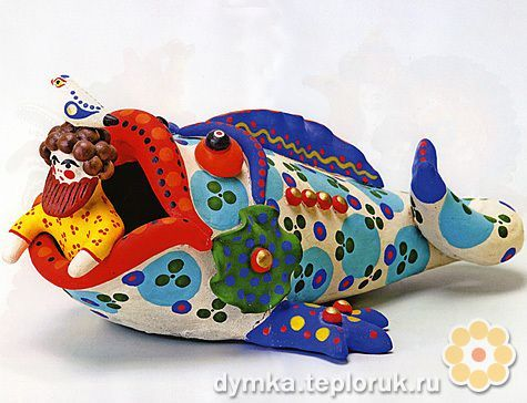 Modern Dymkovo toys include ancient motifs, as well as those of the second half of the 19th century, such as barynyas (or landladies), nyanki (or nannies), vodonoski (or female watercarriers) and others. In the 1930s, the Dymkovo toys began to depict fairy tales and contemporary lifestyle. There were also multi-character compositions on stands. Improvised bright painting of the toys represents a geometric ornament of cirles, checks, and dots of different colors and sizes.