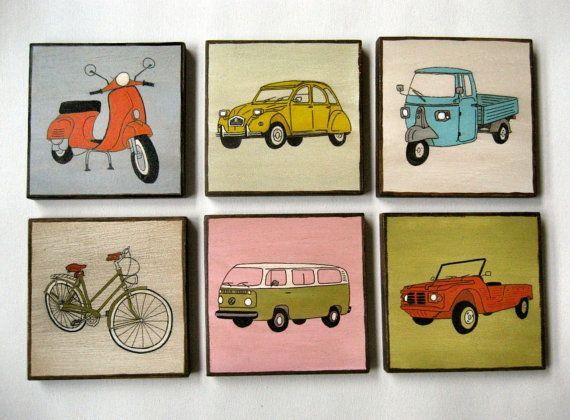 Art Blocks Vehicles of 70s. FREE SHIPPING 5x5 8x8 Set by Lunartics, €108.00