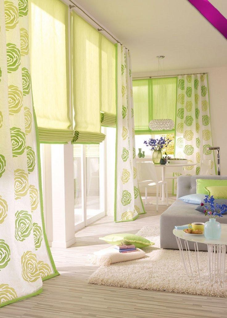 cortinas de color verde llamativo para el salón moderno