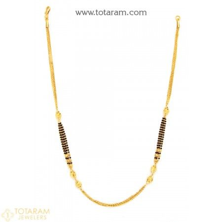 22K Gold Necklace for Women with Black Beads  - 235-GN3075 - Buy this Latest Indian Gold Jewelry Design in 14.750 Grams for a low price of  $904.99