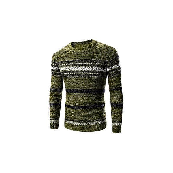 Mens Fall Winter Pullover Knitted Stripes Pattern O-Neck Slim Fit... ($25) ❤ liked on Polyvore featuring men's fashion, men's clothing, men's sweaters, army green, men sweaters & cardigans, mens sweaters, mens short sleeve sweater, mens shawl collar cardigan sweater, mens shawl collar sweater and mens slim fit sweater