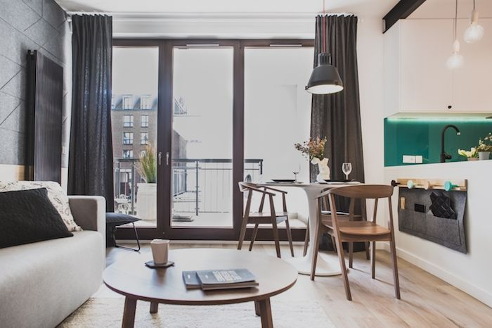amenajare living garsoniera 36 m2 stil modern balcon