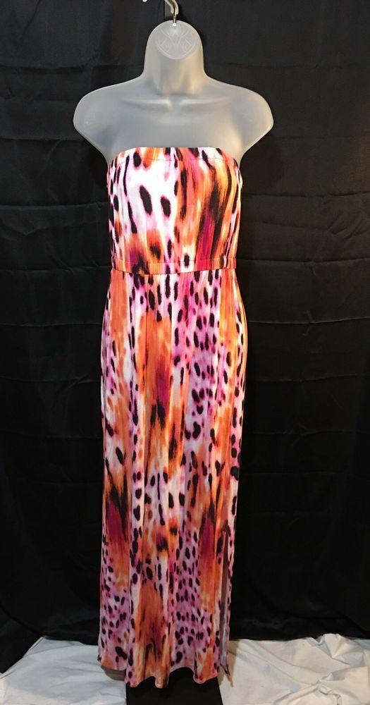 APT 9 Strapless Pink Animal Print Long Maxi Tube Beach Dress Soft Stretch MED  #Apt9 #BeachDressMaxi