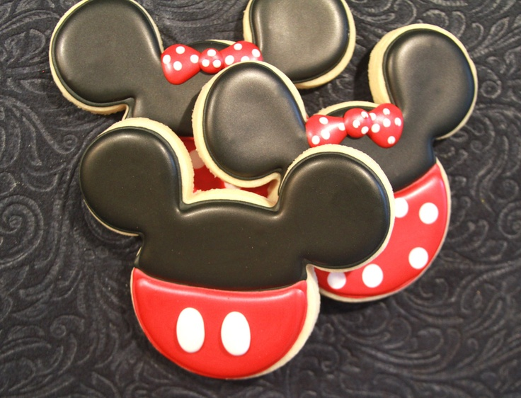 Mickey Mouse and Minnie Mouse sugar cookies