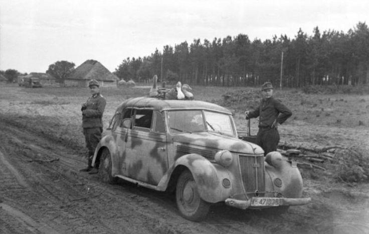 """Getarnter PKW Wanderer - W51 , ( - Kennzeichen """" WH-471029 """" ) am Straßenrand , mit Gänsen auf dem Dach - SowjetUnion August 1943"""