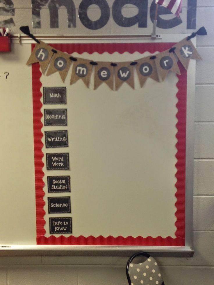cute homework board with burlap banner