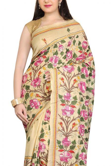 Buy Online Beige Rose Kantha Tussar Silk Saree . India's Best Ethnic Wears & Wares www.EthnicKart.com