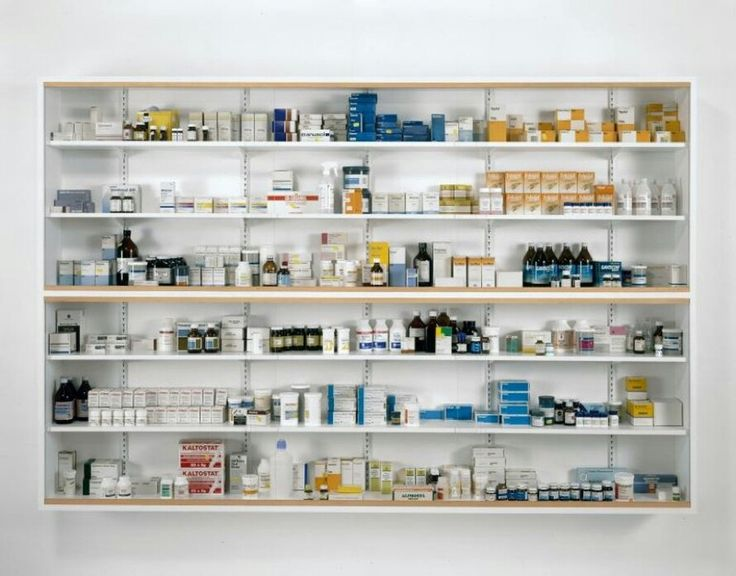 """Damien Hirst (b. 1965, British), """"Nothing is a Problem for Me"""", Glass, Painted MDF, Ramin, steel, aluminium and Pharmaceutical Packaging and step ladder: (Medicine Cabinets), Size: 182,9 x 274,3 x 305 cm. [72 x 108 x 12 inches], (1992) - Image: Photographed by Prudence Cuming Associates © Damien Hirst and Science Ltd. All rights reserved, ('DACS', 2012) ~ [Hirst's first use of Medical and Surgical Instruments was inspired by David Cronenberg's film 'Dead Ringers' (1988)]."""