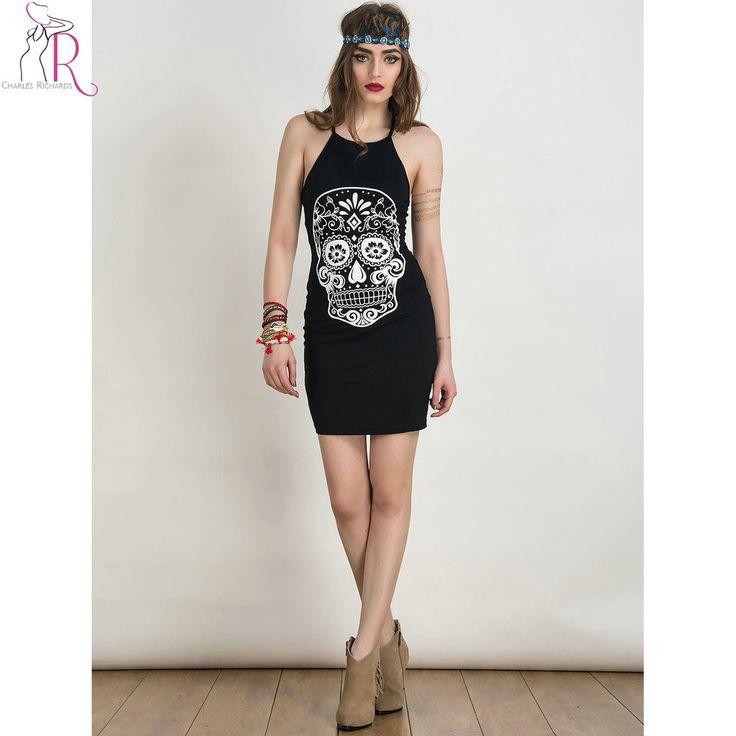 Black Skull Prints Spaghetti Strap Mini Bodycon Dress Sleeveless Casual Cross Backless Sexy Dresses Women Clothing