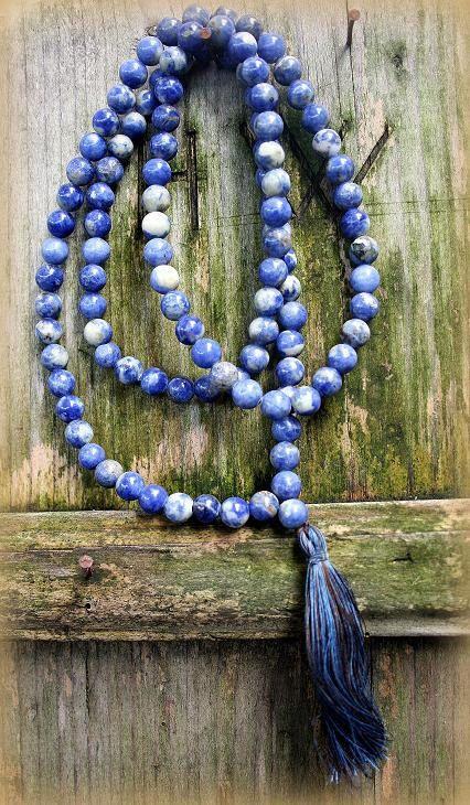 Sodalite Japa Mala Necklace - Made by look4treasures