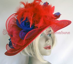 Society Red Hat Lady RED Straw Petite Brim Fancy Trimmed Accent