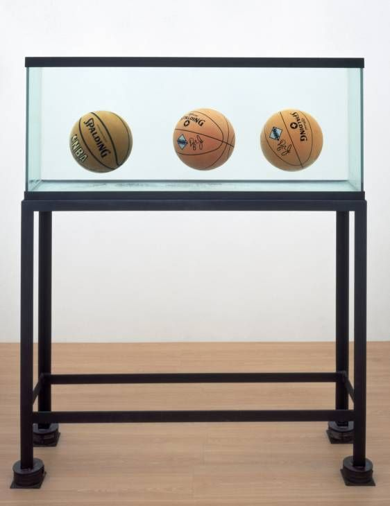Three Ball Total Equilibrium Tank (Two Dr J Silver Series, Spalding NBA Tip-Off) by Jeff Koons, 1985.