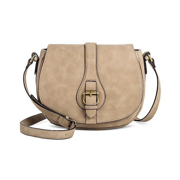 Women's Timeless Collection Saddle Crossbody Silver Mink ($8.98) ❤ liked on Polyvore featuring bags, handbags, shoulder bags, silver mink, beige handbags, target handbags, target purses, silver shoulder bag and hand bags