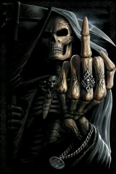 Dark fantasy art death giving the finger fuck you