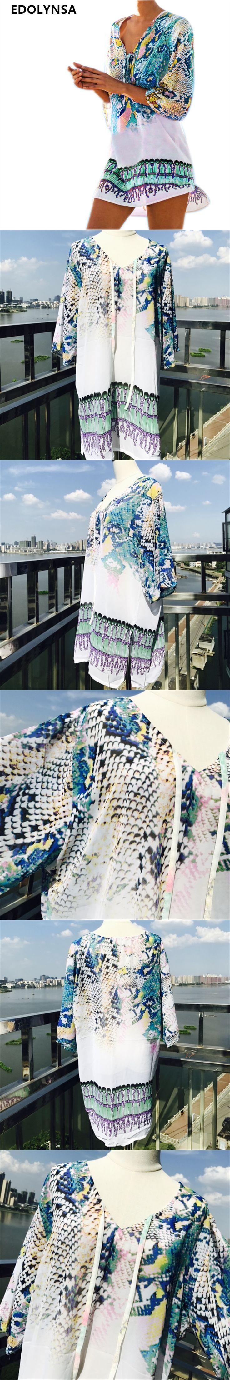 Bathing Suit Beach Caftan Swimsuit Cover up Print Chiffon Pareo Women Robe Plage Swimwear Dress Sexy Sarong Beach Tunic #Q152