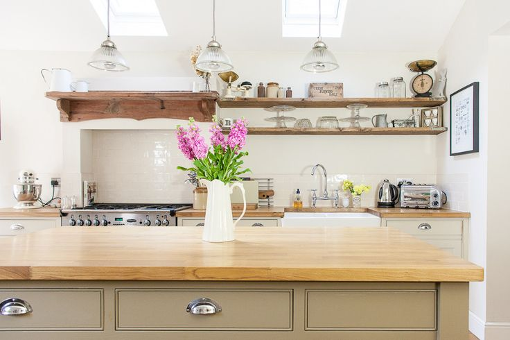 Farrow & Ball Island Unit | Image By Adam Crohill - See more of this 3 Bed Victorian Terrace Redecoration And Extension Project In Hertfordshire UK on rockmystyle.co.uk