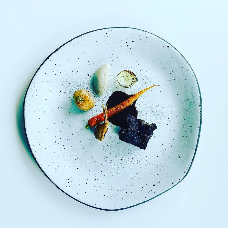 Lamb shoulder and five elements of spring: 1. Carrot  2. Spring onion 3. Young garlic 4. Mini potato  5. Jerusalem artichoke purée, lamb jus and shallot dust.