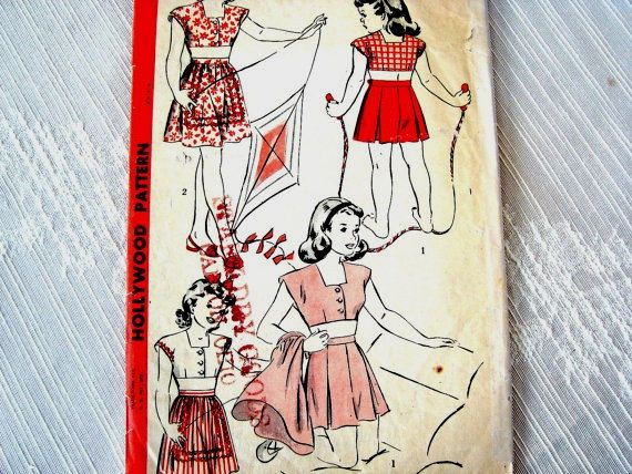 1940s Girls Playsuit #Vintage #Sewing #Pattern size 6 UNCUT #Girls Hollywood Pattern 3 piece #Play #Suit Top Shorts Skirt