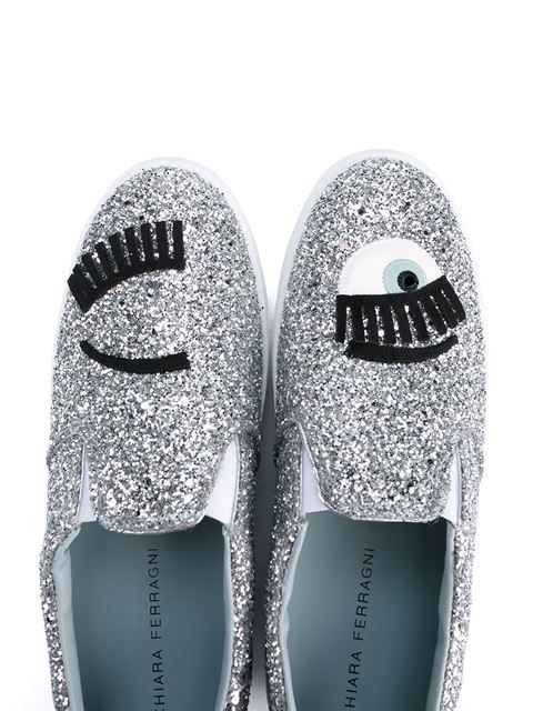 Chiara Ferragni Flirting Leather Slip-On Skater Shoes