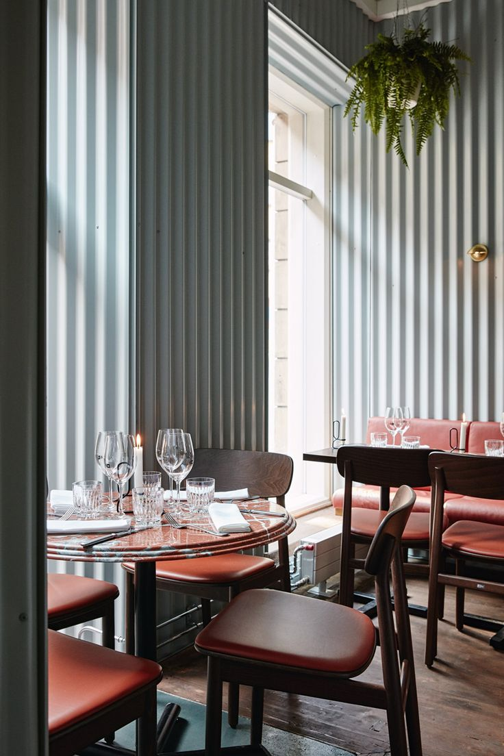 Used tables and chairs for restaurant - Ox Restaurant By Joanna Laajisto Combines Mint Coloured Corrugated Metal Wall Panels