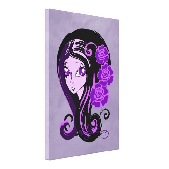 Purple home decor is absolutely adorable no matter if you like pale purple, lavender, lilac, magenta or violet purple home decor.  A purple themed home is easy to achieve by using purple wall art, purple throw pillows, purple throw blankets and purple area rugs.  Use this along with other purple wall art to create a relaxing, funky home decor theme #purple  Purple Gothic Girl With Roses Canvas Print