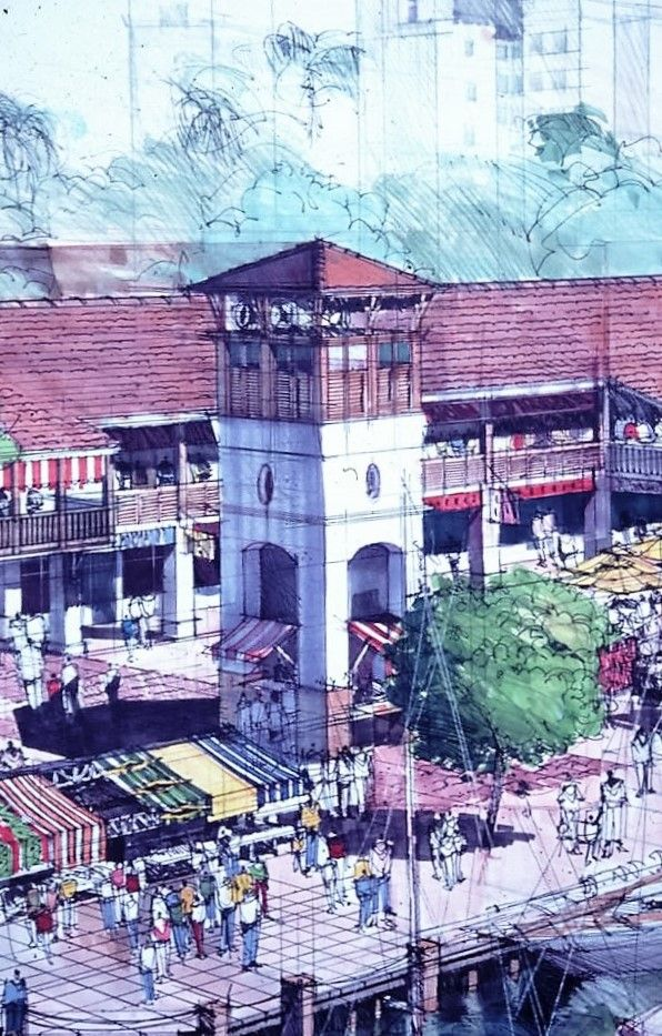 coloured pencils Fineliner and Markers on A1 cartridge. Shops and market. Urban renewal  Maputo harbour development. Circa 1998