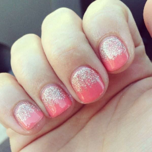 Coral gel nails with glitter! I had this exact color combo and loved it!