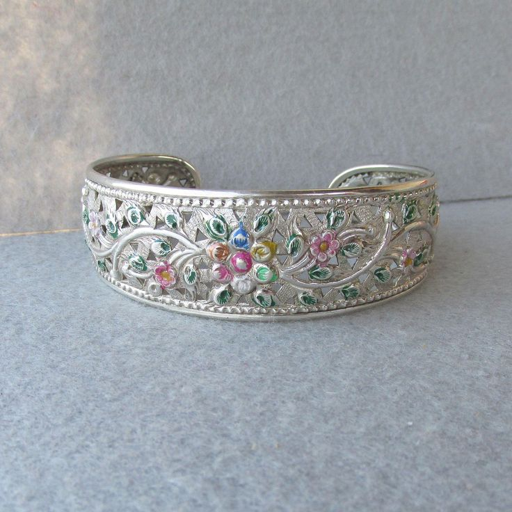 Exquisite Vintage Open Work Floral Hand-Patinated Sterling Silver Cuff Bracelet